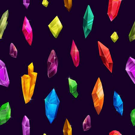 Colorful crystal pattern in modern style, fancy diamonds on black background.  イラスト・ベクター素材