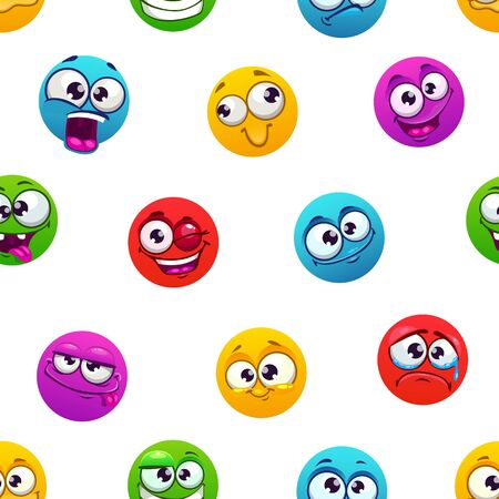 Seamless pattern with funny colorful comic emoji faces on white.  イラスト・ベクター素材