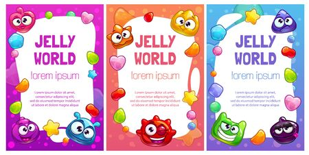 Jelly world banners. Cute colorful templates with jellies , candies and funny monsters.