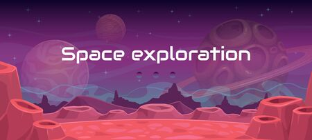 Space exploration illustration, fantasy alien landscape. Cartoon background. Horizontal cosmic banner. Another planet concept.  イラスト・ベクター素材