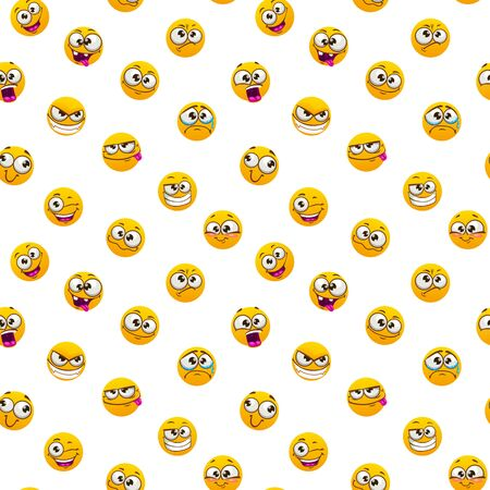 Seamless pattern with funny yellow emoji faces on white background.