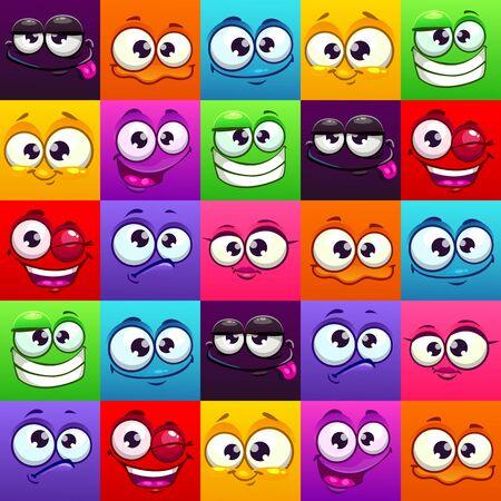 Seamless pattern with funny colorful emoji faces. Ilustración de vector