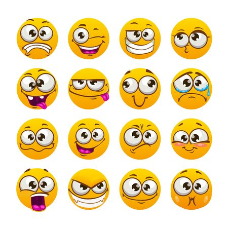 Cartoon funny yellow faces. Comic emoji set. Vector isolated icons.