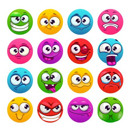Funny colorful round emoji faces. Vector emoticons set.