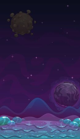Cartoon alien slimy landscape. Fantasy slime planet background, fantastic space illustration.  イラスト・ベクター素材