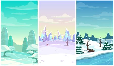 Set of three winter vertical background. Cartoon landscapes with snow, ice, trees, clouds.