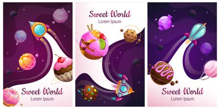 Sweet world posters set. Food planets on the space background. Cotton candy, chocolate cookie, candy, donut, caramel sweets planets. Vector illustration.