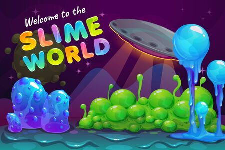 Slime world backcround. Fantasy alien landscape with UFO and slimy plants.  イラスト・ベクター素材