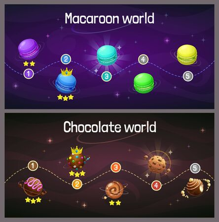 Ingame level up progress screen. Cosmic map with macaroon and candy planet. Space trip concept.