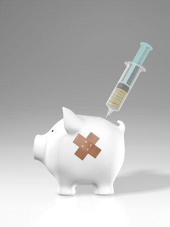 laceration: Piggy bank - plaster and cash injection