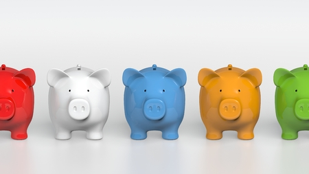 Piggy bank - orthographic raw of colorful pigs Stock Photo
