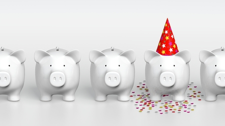 Piggy bank - orthographic raw with pig with party hat
