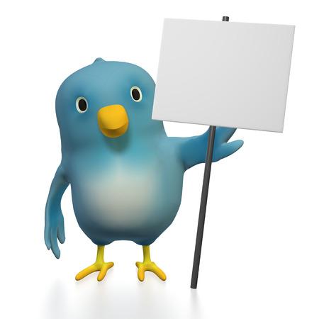 wildcard: A bluebird ( Blue Bert) with a plain sign