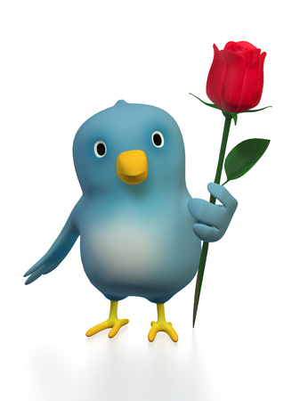 A bluebird ( Blue Bert) with a red rose