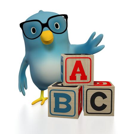glossary: A bluebird ( Blue Bert) with toy blocks, spelling ABC