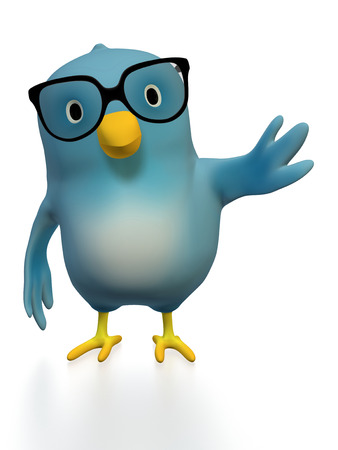 intellectually: A bluebird ( Blue Bert) with glasses one wing pointing to the side Stock Photo