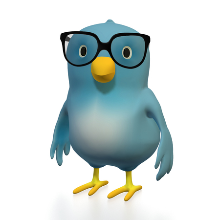 intellectually: A bluebird ( Blue Bert) with glasses on white backround