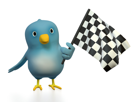 A bluebird ( Blue Bert) with checkered flag