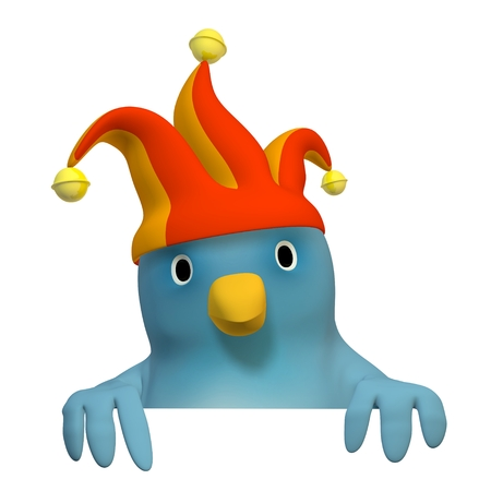 wildcard: A bluebird ( Blue Bert) with jesters cap with on area to fill in your text