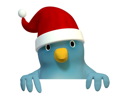 wildcard: A bluebird ( Blue Bert) with Santa hat with on area to fill in your text