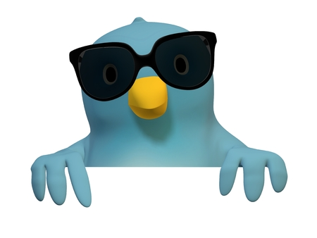 wildcard: A bluebird ( Blue Bert) with sunglasses with at area to fill in your text Stock Photo