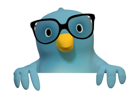 intellectually: A bluebird ( Blue Bert) with glasses with on area to fill in your text Stock Photo