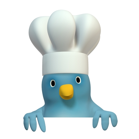 wildcard: A bluebird ( Blue Bert) with chefs cap with on area to fill in your text Stock Photo