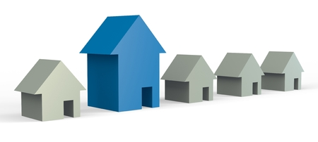 big blue house in a row of gray houses Stock Photo