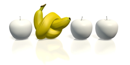 banana with knot between white apples Stock Photo