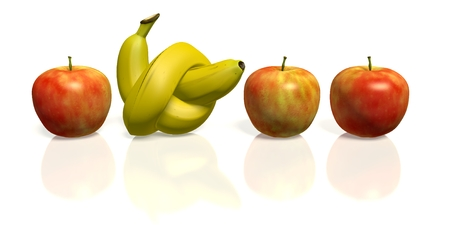banana with knot between apples Stock Photo