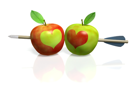 Red apple with green heart and green apple with red heart pierced by an arrow Stock Photo