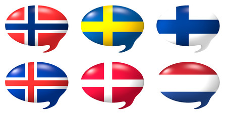 Six speech balloons with the design of the flags of Norway, Sweden, Denmark, Finland, Iceland, Netherlands Stock Photo