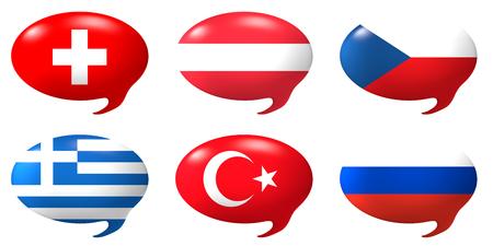 czech switzerland: Sei fumetti con il disegno delle bandiere di Swizerland, Austria, Repubblica Ceca, Grecia, Turchia, Russia
