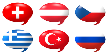 austria flag: Six speech balloons with the design of the flags of Swizerland, Austria, Czech Republic, Greece, Turkey, Russia Stock Photo