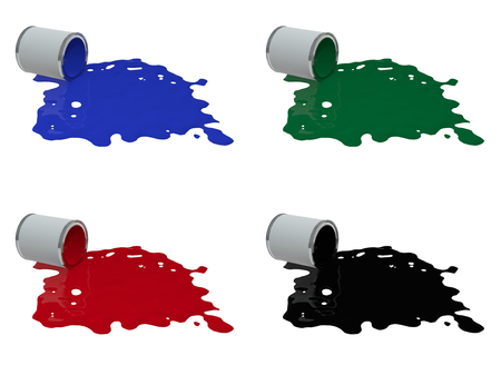 toppled paint tin in 4 colors Stock Photo