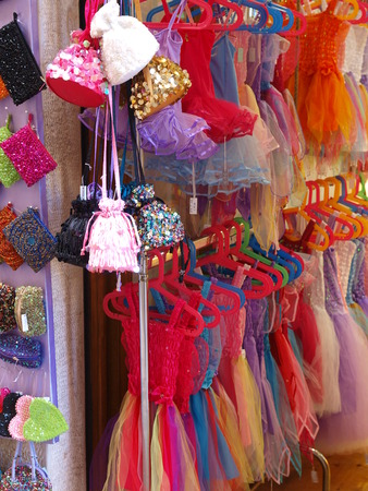 Shop with colorful cloth and accessory for girls Stock Photo