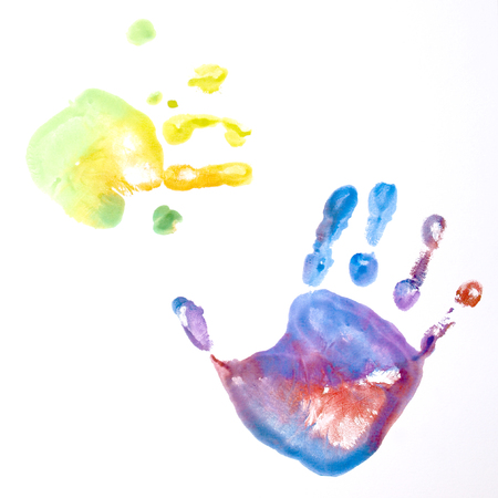 Two colorful kid handprints