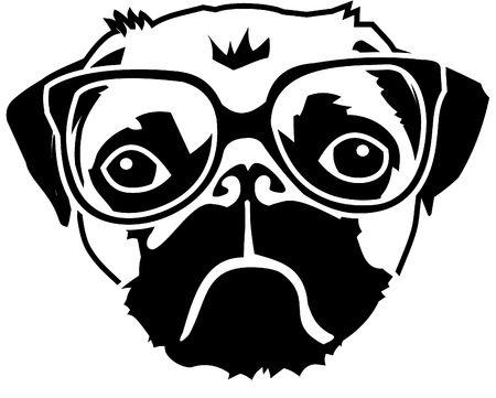 intellectually: pug with glasses Illustration
