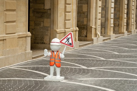 personage: Roadworks on street with symbols and funny personage