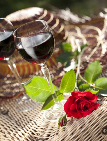 glasses of wine and rose  photo