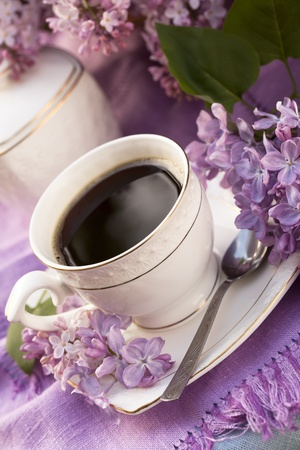 china rose: porcelain cup with coffee and lilac Stock Photo