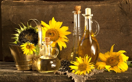 sunflower and vegetable oils, seeds, ecological  still life Stock Photo - 10199667