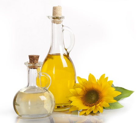 sunflower and vegetable oils, seeds, ecological  still life photo