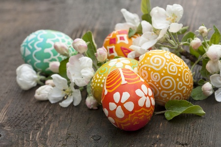 easter nest: Colorful easter eggs on old wooden background