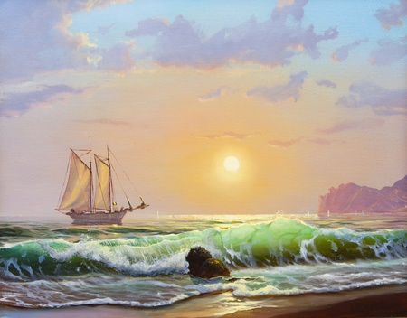帆船海の夕日を背景にキャンバス上の油画 写真素材 - 10307257