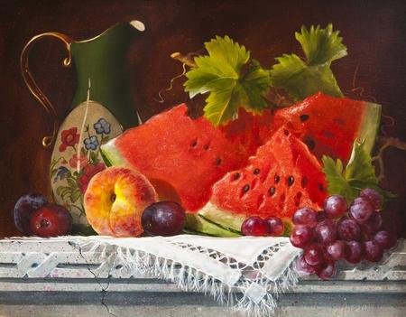 キャンバス、スイカの油絵 写真素材