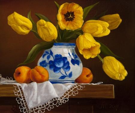 キャンバス、ブーケ油絵