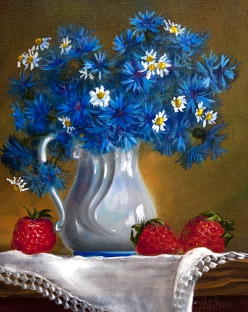 flowers in vase: Oil painting on canvas , bouquet