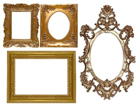 muebles antiguos: Imagen Colección de oro marco con un patrón decorativo Foto de archivo