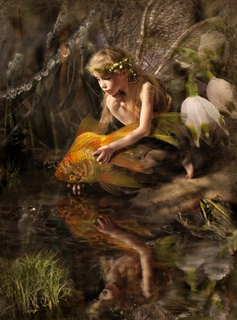 fairy woman: Elf and gold fish  Stock Photo